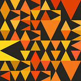 Vector Seamless Abstract Geometric Triangle Pattern in Yellow and Orange