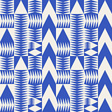 Vector Seamless Blue Abstract Geometric Irregular Triangle Arrows Tiling Pattern