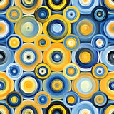 Vector Seamless Blue Yellow Gradient Mesh Concentric Circles Pattern