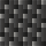 Vector Seamless Black And White Abstract Geometric Cross Circle Halftone Tiling Pattern