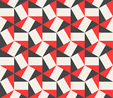 Vector Seamless Black Red White Hexagonal Triangles Rectangles Pattern