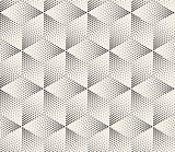 Vector Seamless Black and White Dot Stippling Geometric Rhombus Cube Pattern