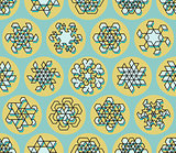 Vector Seamless Line Art Stroke Offset Geometric Teal  Snowflake Shape on Yellow Circle Background