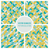 Vector Seamless Teal Yellow Geometric Square Circles Blocks Pattern