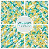 Vector Seamless Teal Yellow Geometric Square Circles Blocks Pattern