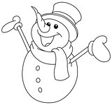 outlined snowman raising arms