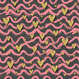 Vector Gold glittering heart seamless pattern