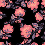 Vector Fantasy flowers seamless pattern.