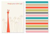 Funny and positive vector creative greeting card.