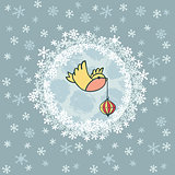 Christmas and New Year round frame with bird symbol. Greeting card.