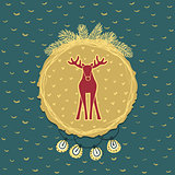 Christmas and New Year round frame with deer symbol. Greeting card.