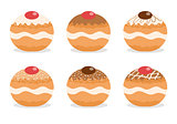 Sufganiyot set. Jewish donut set. Jewish traditional dessert on the holiday of Hanukkah. Vector illustration
