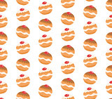 Sufganiyot seamless pattern. Jewish donut seamless texture. Jewish traditional dessert on the holiday of Hanukkah background. Jewish donut pattern. Vector illustration