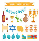 Hanukkah set of cartoon icons. Hanukkah Icons with Menorah, Torah, Sufganiyot, Olives and Dreidel. Happy Hanukkah Festival of Lights, flat icons, design elements. Vector illustration