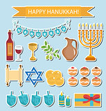 Hanukkah sticker pack. Hanukkah Icons with Menorah, Torah, Sufganiyot, Olives and Dreidel. Happy Hanukkah Festival of Lights, Feast of Dedication flat icons, stickers. Vector illustration