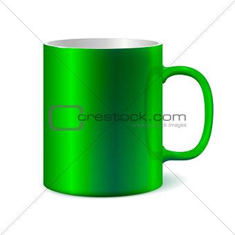 Green ceramic mug for printing corporate logo