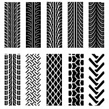Set of detailed tire prints, vector illustration