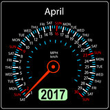 year 2017 calendar speedometer car in vector. April