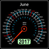 year 2017 calendar speedometer car in vector. June