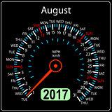 year 2017 calendar speedometer car in vector. August