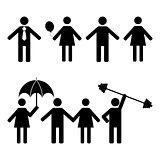 A set of stick figures, vector illustration.