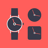 Icon wrist watch, vector illustration.