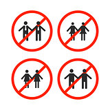 Prohibition sign for same-sex marriage, vector illustration.