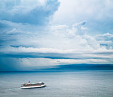 Cruise Ship. Beautiful Seascape and Dramatic Sky.