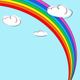 Rainbow and clouds. Light blue vector background.