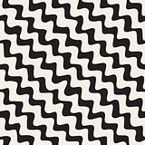 Vector Seamless Black and White Hand Drawn ZigZag Diagonal Stripes Pattern