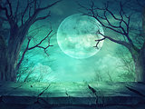 Spooky forest with full moon and wooden table