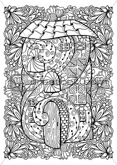 Adult coloring book cover design. Mono color black ink illustration, vector art. Fairy house with open door