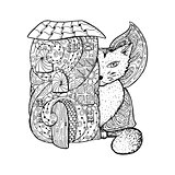 Adult coloring book page. Mono color black ink illustration, vector art. Fairy house, big cat with butterfly wings.