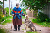 Elderly woman with a dog in countryside