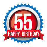 Fifty five years happy birthday badge ribbon