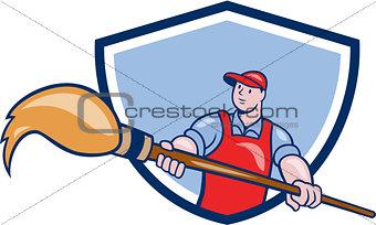 Artist Painter Giant Paintbrush Crest Cartoon