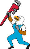 Plumber Eagle Standing Pipe Wrench Cartoon