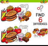 difference game with food objects