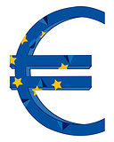 Sign euro and flag