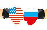 Gloves in colour flag to russia and usa