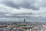 Montparnasse tower over Paris, cloudy day