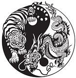 yin yang dragon and tiger