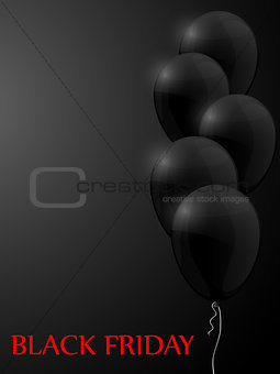 Black Friday sale poster with balloons. Vector illustration.