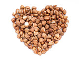 buckwheat heart-shaped isolated