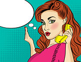 Pop art  woman chating on retro phone . Comic woman with speech
