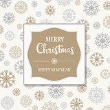 Gorgeous Christmas card with silver and golden snowflakes