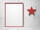 Mock-up red canvas frame, red star decor and brick wall. 3D