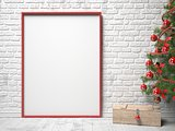 Mock up blank picture frame, Christmas decoration and wooden box