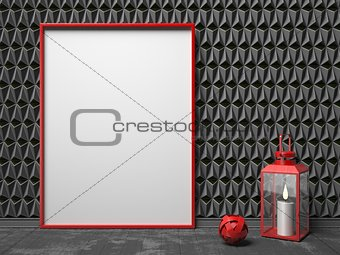 Blank picture frame and red lantern on black triangulated backgr