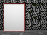 Blank, red, picture frame on black triangulated background
